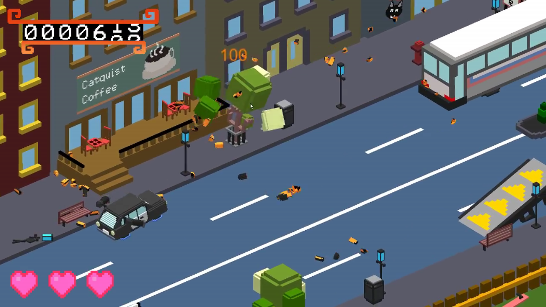 A car drives through a city and fires its weapon on a tree that falls into pieces.